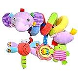 Sharplace Giocattolo Culla Molle Spirale Apessi Passeggino Campane Sonaglioni Gioco Sviluppo Educativo Regalo - Elefante immagine
