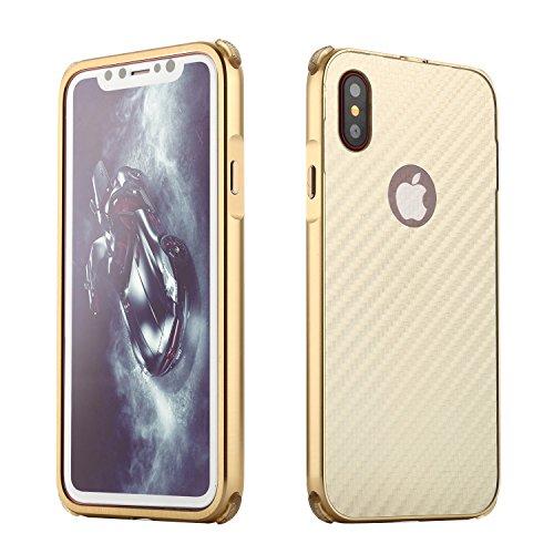 Meimeiwu 2 in 1 PC + Metall Dual-Werkstoff Telefon Rüstung Bumper Protictive Case hülle/tasche/Schutzhülle für iPhone X - Silber Gold
