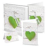 Hochzeits-Kommunion-Taufe-Geburtstags-Tisch-Deko grün-weiß-gepunktetes HERZ: 1 Gästebuch + 20 Einladungen + 32 Tischkarten + 12 Menükarten (für 25 -30 Personen) weiße Holz-Optik