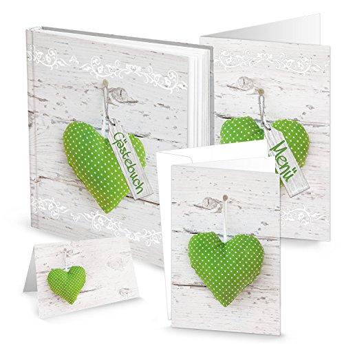 Logbuch-Verlag SET: Gästebuch + 20 Einladungen + 32 Tischkarten + 12 Menükarten grün weiß gepunktetes Herz weiße Holz-Optik Hochzeit Kommunion Taufe für 25 - 30 Gäste