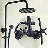 W&P Negro aceite de latón antiguo cuarto de baño ducha de lluvia conjunto grifo montado en la pared del aerosol de bañera de mezclador del grifo de mano , a