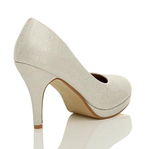 Femmes talons hauts moyen soirée élégant simple escarpins chaussures pointure Paillettes ivoire tulle