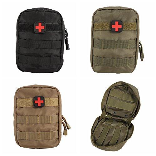 Sweetds Taktische Tasche Bauchtasche Gürteltasche, Multifunktions MOLLE Taktische Erste Hilfe Tasche Medizinische Notfalltasche Schwarz