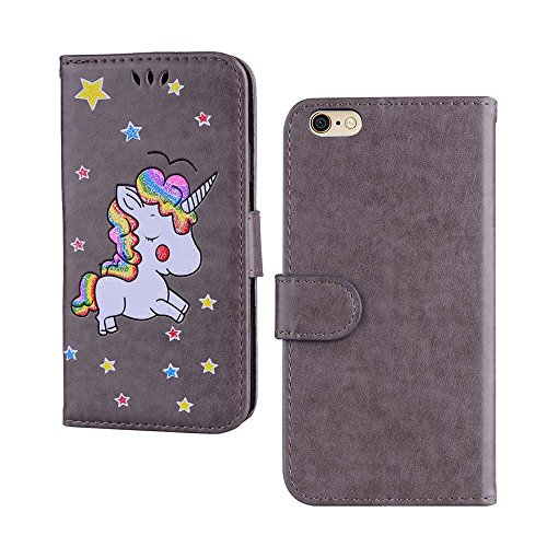 Custodia per iPhone 6S Plus / iPhone 6 Plus, ESSTORE-EU Unicorn Design Premium Custodia in PU Pelle con Custodia Innominale Soft TPU, Unicorn Carino con Bling Bling Glitter Charming Scintillante Stell Grigio