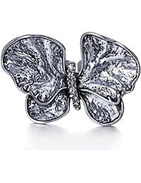 Retro aleación de diamantes de mariposa personalizadas anillos de anillo abierto