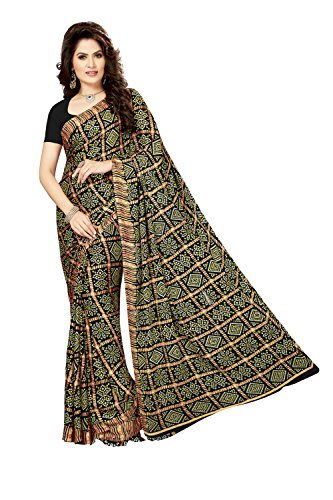 Rani Saahiba Crepe Saree with Blouse Piece (SKR3568_Black_One Size)