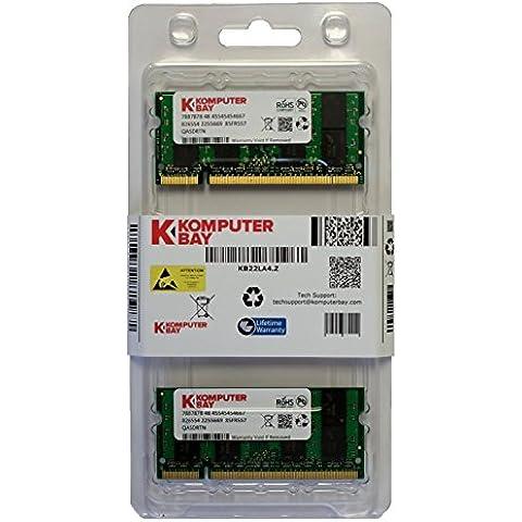 Komputerbay - Módulo de memoria portátil, SODIMM (200 pines), 2GB (2x1GB), DDR3, 33Mhz, PC2700