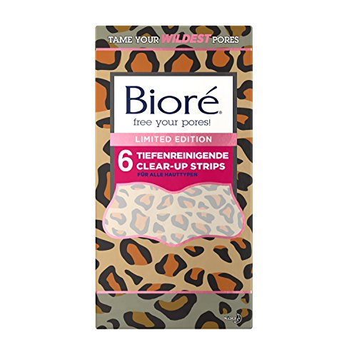 Bioré Tiefenreinigende Clear-Up Strips - Limited Edition Leoparden Design - 2 x 6 Nasenstrips - dermatologisch getestet