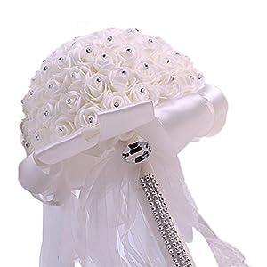 Fablcrew – Ramo de novia hecho a mano de espuma con diamantes de imitación para damas de honor boda blanco