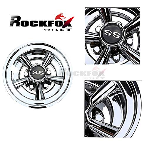 Rockfox brillant Chromé 20,3 cm SS Golf Cart de roue couvertures, SA Conception Ingénieuse amélioration et top à vendre 5 Spoke Motif et de durabilité hub Caps pour la plupart des chariots de golf. Lot de 4.