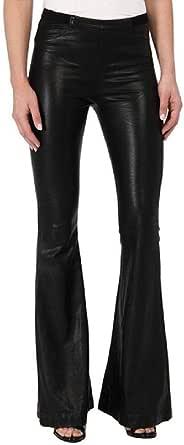 nobrand Pantaloni a Zampa///delefante in Pelle/PU avvolti da Donna Pantaloni Elastici in Vita in/Ecopelle/Flare/2020 Pantaloni in Ecopelle Autunno