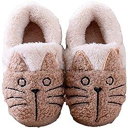 Zapatillas Casa Invierno Interior Suave Animales Gato Mujer