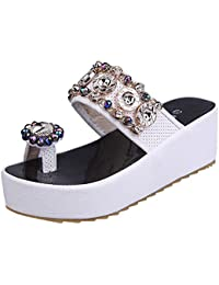 SUNNSEAN Sandalias Zapatos Mujer Verano Mujer Cristal Bling con Plataforma Casual Sandalias De Punta Redonda Plano Mocasines Casuales…
