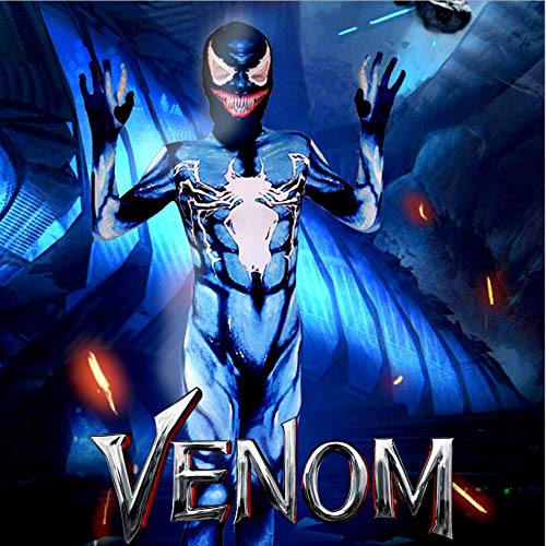 Adegk Venom Spiderman Cosplay Kostüm Kinder Halloween Verkleidung Kostüm Film Kostüm Requisiten Scary Maske,Child-L