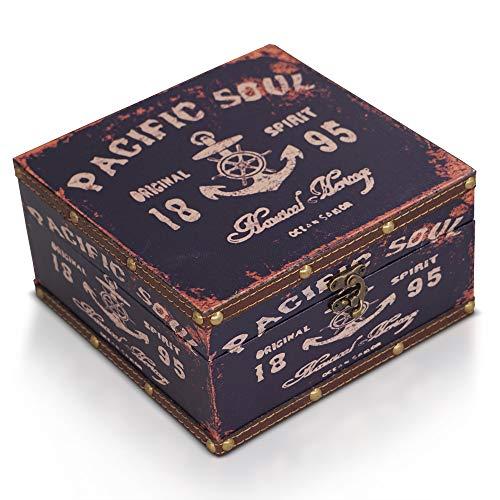 Brynnberg Schatztruhe dunkelblau 20x20x11cm - Piratenkiste, Aufbewahrungsbox, Schatzkiste, Deko Koffer Antik - Ei-korb Antike