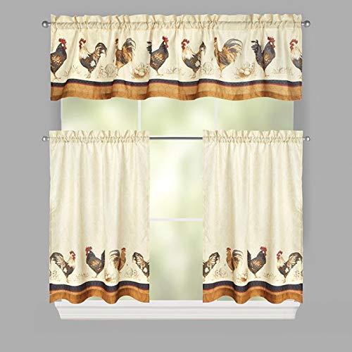 Interiors von Design Roosters Rod Pocket Kontingent und Querbehang Küche Vorhang-Set, 3-Teilig Rooster