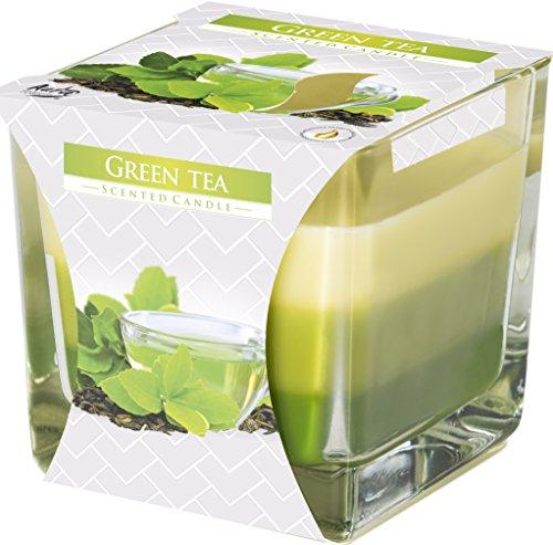 Duftkerze im eckigen Glas mit 32 Stunden Brenndauer ! (Duft: Grüner Tee) - Duft Grün
