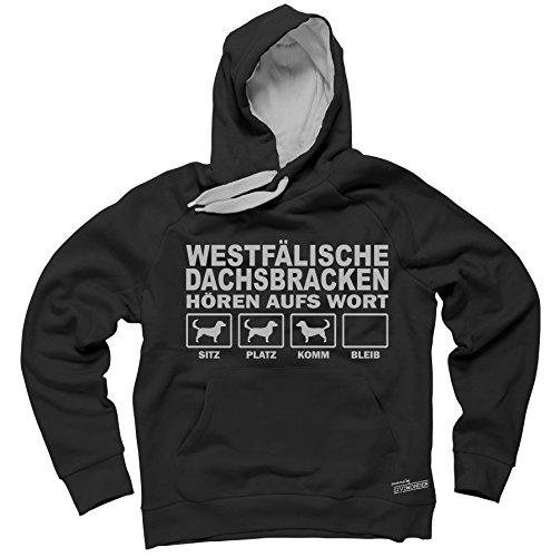 WESTFÄLISCHE DACHSBRACKE Bracken Dachs - HÖREN AUFS WORT Unisex Hoodie Kapuzensweatshirt Pullover Fun Siviwonder black XL - Dachs Hoody