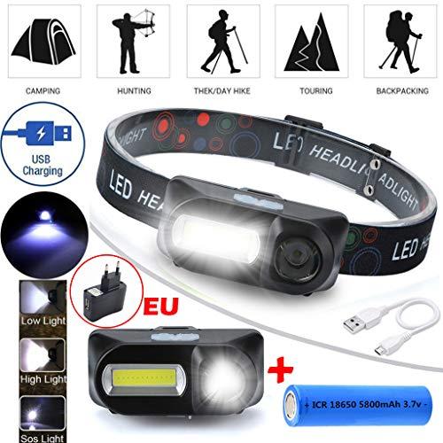 Jamicy® Stirnlampe LED Superheller, Kopflampe 180LM Wasserdicht, Wiederaufladbare Einstelllbare Akku mit Warnleuchte, Stirnleuchte für Laufen Jogging Reparieren mit 1Stück 18650 Akkus