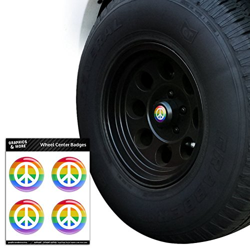 Peace Rainbow LGBTQ Symbol Tire Rad Center Gap resin-topped Abzeichen Aufkleber–4,6cm (4,6cm) Durchmesser (Rim Rainbow)