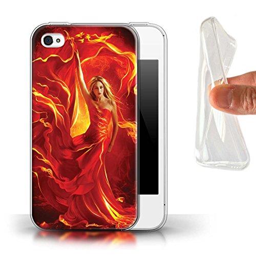 Officiel Elena Dudina Coque / Etui Gel TPU pour Apple iPhone 4/4S / Pack 5pcs Design / Dragon Reptile Collection Robe Feu