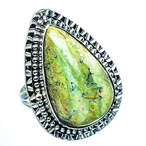 African Green Opal, Afrikanischer Grüner Opal 925 Sterling Silber Ring 9.25 (Ana Silver Co Ringe Grün)