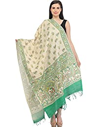 Exotic India Cream And Green Dupatta From Bengal With Printed Madhub - Off-White