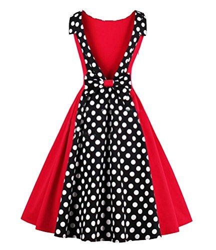 SMITHROAD Damen Vintage Ballkleid gepunktet tief V Rückenfei mit big Bow Patchwork Party Festkleid Schwingen Rockabilly Nr. 1367 Gr. 36 bis 50 Rot