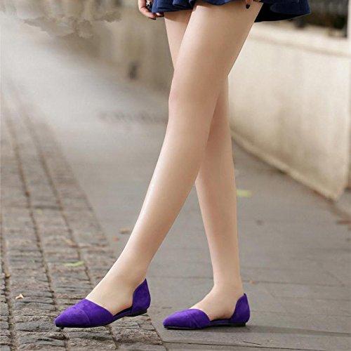BaiLing Damen Sommer Sandalen / Schaffell zeigte flache Ferse / Mode Damen kleine Größe Schuhe Purple