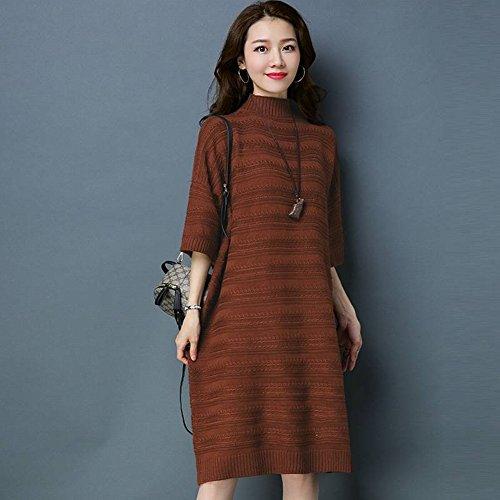 Good dress Weibliche Kragen in Den Ärmeln Pullover Lange Locker Große Größe Absicherung Stricken Primer Rock , rostrot , Einheitsgröße