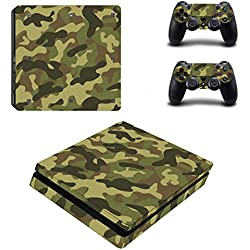 Morbuy PS4 Slim Skin Vinyl Autocollant Decal Sticker pour Playstation 4 Slim console + 2 Dualshock Manette Set (Army Camo)