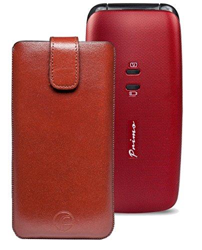 Original Favory Etui Tasche für / DORO Primo 401 / Leder Handytasche Ledertasche Schutzhülle Case Hülle *Speziell - Lasche mit Rückzugfunktion* in braun
