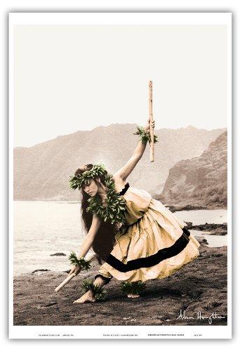Pacifica Island Art Pua Mit Stöcken (Kala'au) - Hawaiisch Hula-Tänzerin von Alan Houghton - hawaiianischer Kunstdruck - 33cm x 48cm