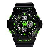 Yesurprise Reloj Deportivo De Silicona Para Hombre 0955 Luminoso Alarma Cronómetro Calendario Color Verde