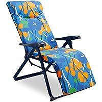 Solenny Tumbona de jardín plegable con acolchado de 6 cm. de grosor, reposacabezas y 6 posiciones, tubo oval, estampado naranja y azul