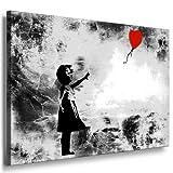 Fotoleinwand24 - Banksy Graffiti Art 'There Is Always Hope' / AA0134 / Bild auf Keilrahmen / Schwarz-Weiß / 60x40 cm