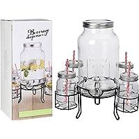 Shine DISPENSADOR DE Bebidas DE Vidrio DE 4.5 L con Soporte + 4x450Ml DISPENSADOR DE Bebidas