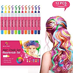 BEAU-PRO Haarkreide für Kinder Auswaschbar und ungiftige 12 Farben Temporäre Hair Chalk Set für Mädchen, Instant Haarfärbekreide Perfekt für Karneval Party Halloween Cosplay Geburtstag