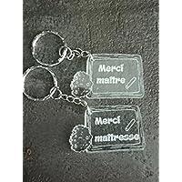 porte clé cadeau merci maître maîtresse personnalisable avec le prénom de l'enfant
