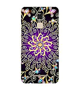 Fiobs golden ornament pattern diamond embosed design Designer Back Case Cover for Asus Zenfone 3 Max ZC520TL (5.2 Inches)