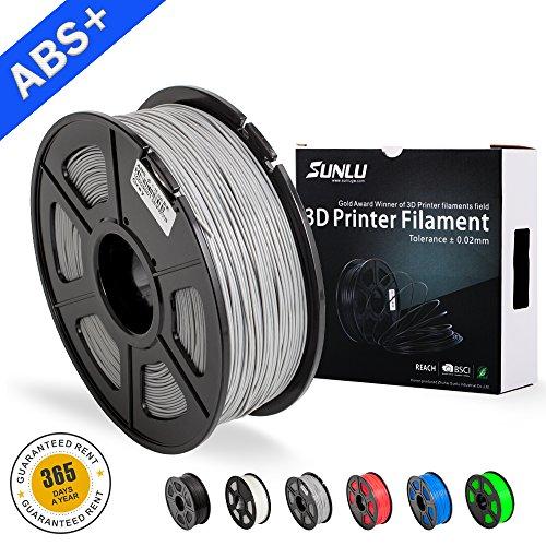 3D Filamentos de ABS para impresora 3D-SUNLU Filamento de ABS gris 1.75 mm, precisión dimensional de olor bajo +/- 0.02 mm Filamento de impresión 3D, filamento de impresora 3D Spool de 2.2 LBS (1KG) para impresoras 3D y bolígrafos 3D, gris