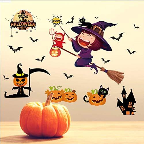 ylckady Kürbis Licht Halloween Wandaufkleber Mall Dekoration Haunted House Bar Fenster Wandaufkleber Tapete Für Hauptdekoration