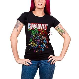 Marvel Comics T Shirt Team-Up Nue offiziell damen Skinny Fit Schwarz