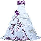 Zorayi Damen Elegante Kapelle Zug Prinzessin Ballkleid Brautkleid Hochzeitskleider Weiß & Lila Größe 54