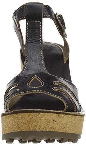 FLY London Damen Gold Plateau Sandalen Schwarz (black 042)