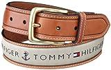 Tommy Hilfiger Men's Ribbon Inlay Belt (Regular Sizes & Big and Tall),Khaki,40
