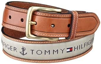 Tommy Hilfiger Men's Ribbon Inlay Belt,Khaki,40