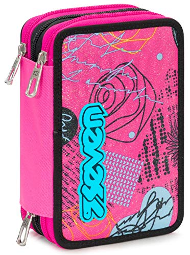 Astuccio 3 Zip Seven Shiny Girl, Rosa, Con materiale scolastico: 18 pennarelli Giotto Turbo Color, 18 matite Giotto Laccato...
