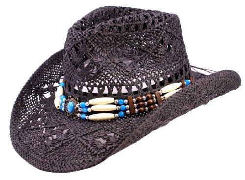 NB Schwarzer Strohhut, Westernhut, Cowboyhut mit breiten dekorativen Hutband (S (Gr.52-56))