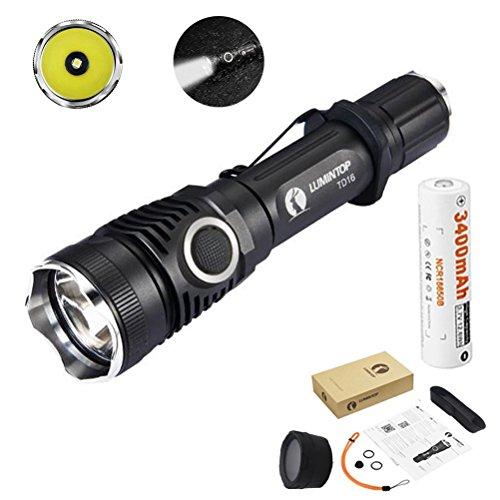 Preisvergleich Produktbild LUMINTOP® TD16 Cree XP-L HI 920 Lumen Taktische LED Taschenlampe+3400mAh Akku, Lichtstrom 450 Meter Reichweite 6 Leuchtmodi inklusive Strobe